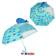 Blue Whale Character 3D Pop Out Kids Boys Long Umbrella