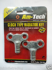 2 Radiator Plumbing Bleed Bleeding Key Keys Clock Type Easigrip for Air Valve
