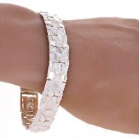 """925 Sterling Silver Solid Nugget Bracelet Adjustable Link 7"""" 12.5mm 25 grams"""