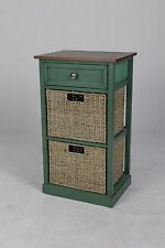Green Painted Country Cottage 3 Drawer Bedside Table with Basket Drawer Storage