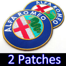 2 x Alfa Romeo Advertising Iron On Patch Racing Applique Embroidered Craft DIY