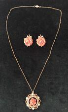 Vintage Faux Coral Celluloid Rose Floral Pearl Necklace V20-12kt Gold