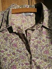 Vintage Ditsy Flowers Blouse Shirt Top L Cotton Teadress