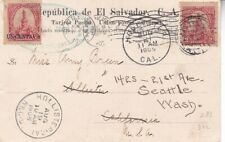 1905 Salvador #283,#312 on Iglesia del Rosario Post Card to US forwarded *d