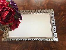 Vintage Vanity Mirror Tray Cosmetic Jewelry Dresser Organizer Rectangular B4