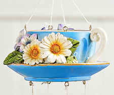 Home Garden Pool Yard Patio - Blue Floral Teacup Wind Chimes 711848 Brand New