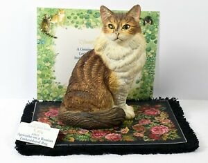 C/A Lesley Anne Ivory Cat on Blanket Agneatha on a Russian Embroidered Rug