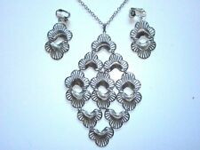 SARAH COVENTRY 1974 LOTUS BLOSSOM Large Pendant Necklace & Earring Set