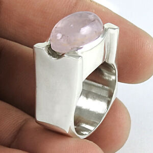 Oval Shape Rose Quartz Gemstone Ring Size 8 925 Sterling Silver Jewelry Y50