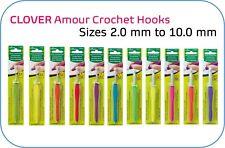 Clover Amour Crochet Hooks Sizes 2.0 - 10.0mm Genuine Ergonomic Colourful Smooth