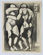 1955 René-Jean CLOT Lithographie originale en noir 1/200 Personnages cubisme