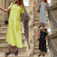 ZANZEA Women Short Sleeve Tunic Midi Dress Ladies Casual Loose Dresses Plus Size