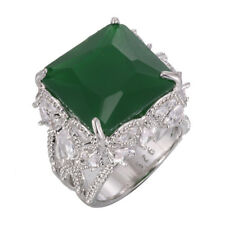 Fancy 925 Silver Filled Butterfly Rings 7.5ct Emerald Wedding Engagement ring
