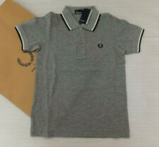 Fred Perry Genuine Boys Kids Twin Tipped Polo Shirt Steel Marl BNWT UK 6-7 Years