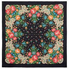 31 x 31 inch Marusya Black Cotton Pavlovo Posad Shawl 1751-18 Authentic Russian