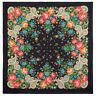 "Black Cotton Pavlovo Posad Shawl 1751-18 Russian Scarf Floral Pattern 31x31"""