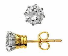 Stud Excellent Cut Yellow Gold SI2 Fine Diamond Earrings