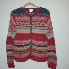 Northern Isle Cotton Mix Chunky knit Sweater Vintage Kashmir Red Size Large