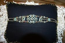 """with small brown gems 14.5"""" Vintage Floral Light Blue Choker"""