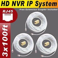 AMCREST NVR POE IP2M-842E, NV1104, NV4108 HD NVR IP 100% Copper 100ft x 3 Cable