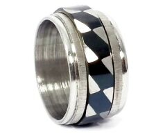 Edelstahl Drehring Silber Schwarz 1cm breit