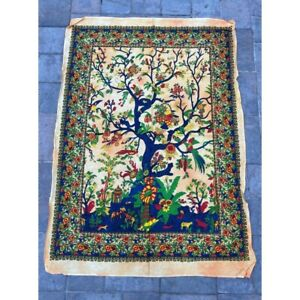 Tree of Life White 100% Cotton Poster Size Wall Hanging Tapestry 45 x 29 Decor