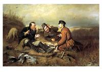 Перов - Охотники на привале Perov  Russian modern Postcard Art / Postcrossing