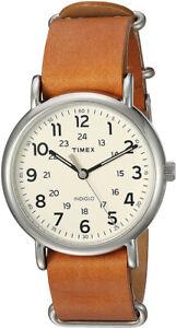 Timex Men's Weekender Quartz Silver Tone Brass/Brown Leather Watch T2P492