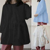 Womens Long Sleeve Elastic Cuff Casual Loose Solid Cotton Shirt Tunic Top Blouse