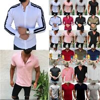 Mens Stylish Polo Neck T Shirt Short/Long Sleeve Summer Casual Dress Shirts Tee