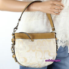 NEW Coach Zoe Optic Signature Top Handle Pouch Bag F44109 White Cream Yellow