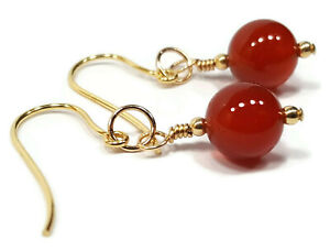Womens Carnelian 9ct Gold Earrings with Gold Dangle Drops and Red Gemstone Beads