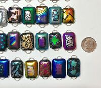 Handmade - 50 Dichroic Glass Fused Links! 2 Hoop - All Different- Regular size-I