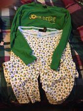 John Deere Lounge Pants Long Sleeve T Shirt Pajama Set Medium Low Rise