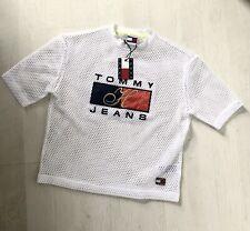 Tommy Hilfiger White Women Tshirt Top Fishnet Brand Oversized Mesh 90s BNWT : XS