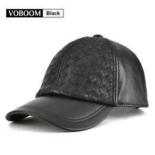 11b18be8c17a 100% Genuine Leather Trucker Cap Baseball Cap Men Black Weave Hats Golf  Cabbie