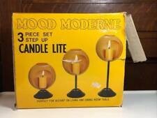 """Mid Century """"Mood Moderne"""" Red Metal Orb Candle Holders """" New Old Stock"""""""