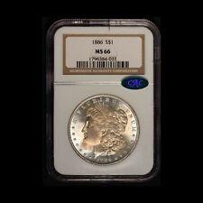 1886 Morgan Silver Dollar CAC and NGC MS 66 - Free Shipping USA
