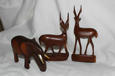 Set of 3 Wooden Carved Antelope  Deer Gazelle  Elephant