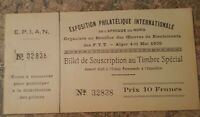 France Exposition Philatelic International Ticket 1930 Mint Condition never Used