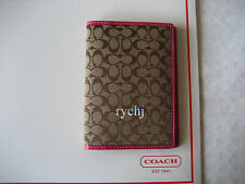 NWT COACH SIGNATURE PASSPORT COVER KHAKI/PINK 60354