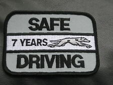 GREYHOUND EMBROIDERED PATCH SAFE DRIVING 7 YEARS DRIVER BUS TRUCK 3 1/2 x 2 1/2