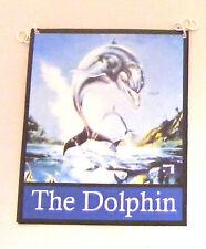 1:12 Scale The Dolphin Pub Sign Dolls House Miniature Bar - Inn Accessory