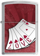 Zippo Love Cards Brushed Chrome Windproof Lighter RARE