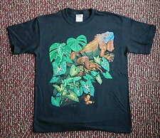 NEW Youth Kids T Shirt Large Size Green Iguana Cotton Tell Hicks Illustration