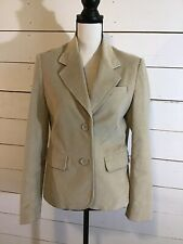 Lady Hathaway Design Studio Blazer Jacket Stretch Button Front Beige Womens Sm