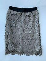 BCBG Max Azria Taupe & Black Sequin Beaded Leaf Pattern Pencil Skirt SZ XS