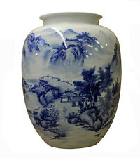Chinese Blue and White Handpainted Mountain Tree Scenery Porcelain Vase cs2358