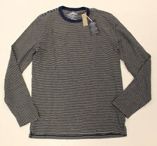 Wallace & Barnes Indigo Men's Long Sleeve Striped Shirt Navy CB4 Size Small NWT