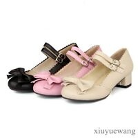Women Bowknot Lolita Mary Janes PU Leather Low Block Heel Party Cosplay Shoes SZ